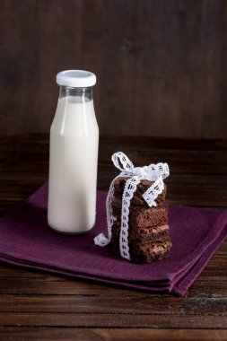 bottle of milk with brownie cakes on napkin