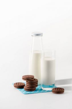 Milk in glass and bottle with cookies