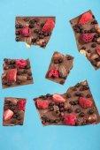 Fotografie čokoládové kousky s jahodou