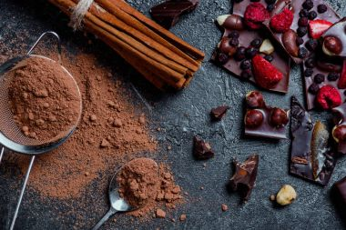 pieces of chocolate with nuts and berries with cinnamon