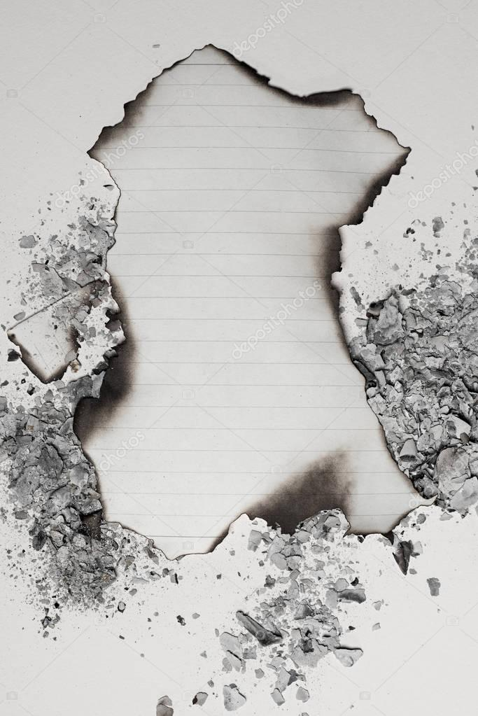 burned empty writing paper sheet
