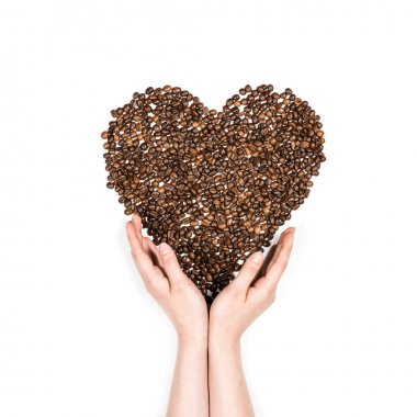 Human hands making heart symbol made from coffee seeds isolated on white stock vector