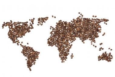 World map made from coffee beans