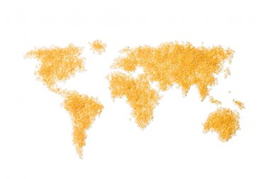 Edible world map made from Italian round pasta isolated on white stock vector