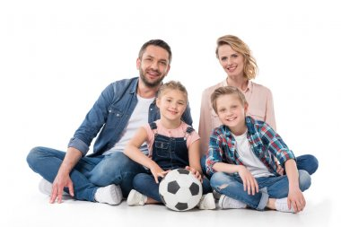 happy family with soccer ball