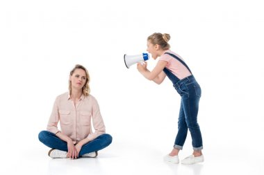 Parent and child with megaphone