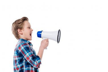 Little child with megaphone