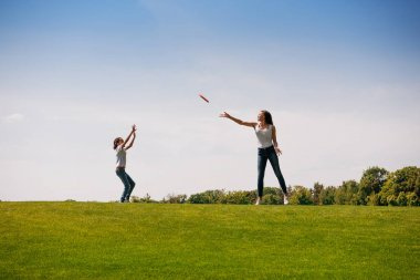 Mother and daughter playing with flying disk