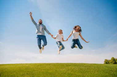 Happy family jumping on meadow