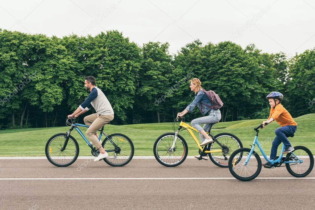 family on bicycles at park