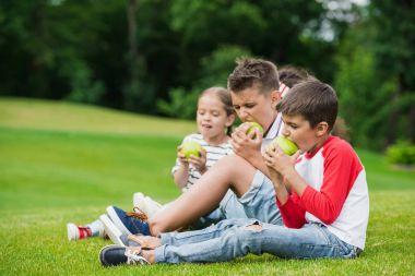 Children eating apples in park