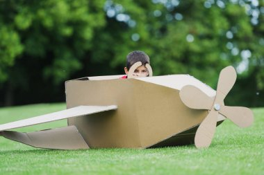 Boy playing with plane in park