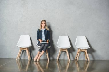 businesswoman waiting for interview