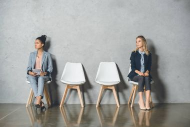 multicultural businesswomen waiting for interview