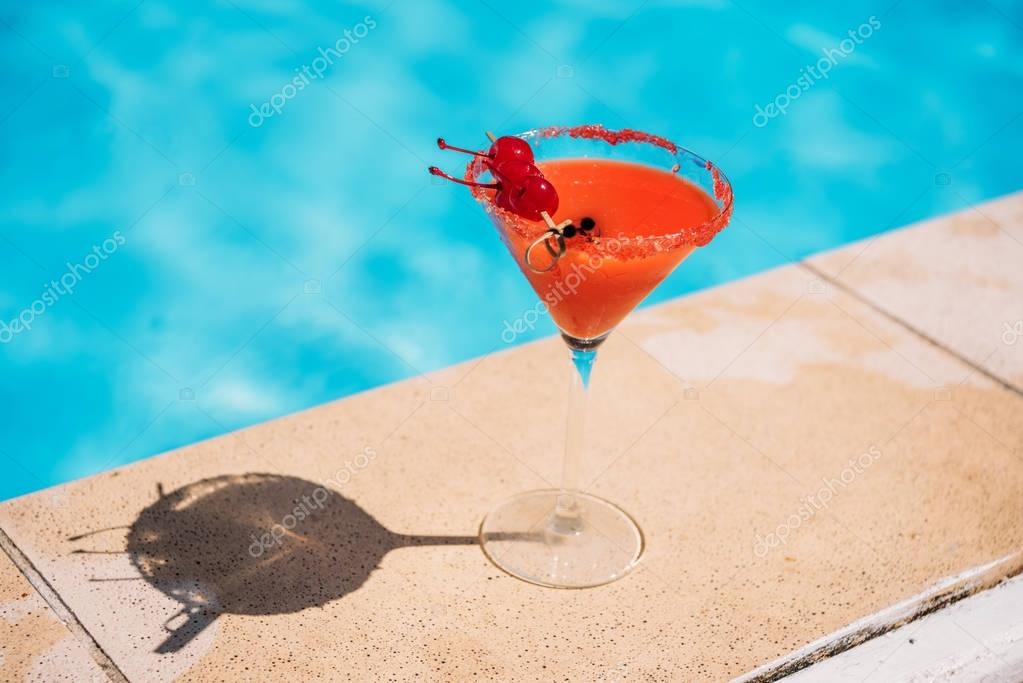 Tropical cocktail near pool