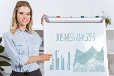 Businesswoman pointing at white board