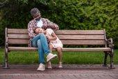 Fotografie African american Girl und ihr Großvater