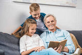 family using laptopgrandfather and grandchildren reading book
