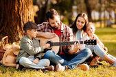 Rodina s dětmi na piknik