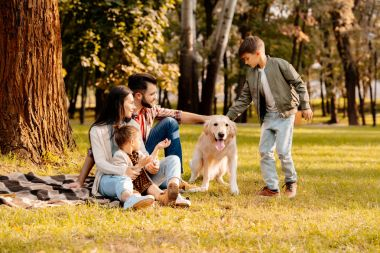 Family playing with dog in park