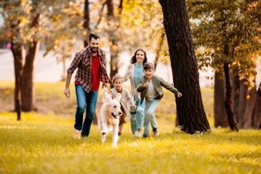 family running after dog