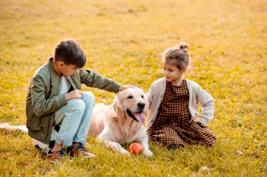 Children petting dog in park
