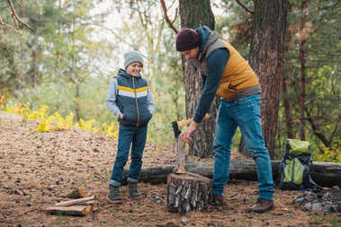father and son chopping firewood
