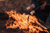Photo cooking marshmallows on bonfire