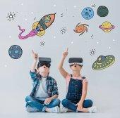 children using virtual reality headsets