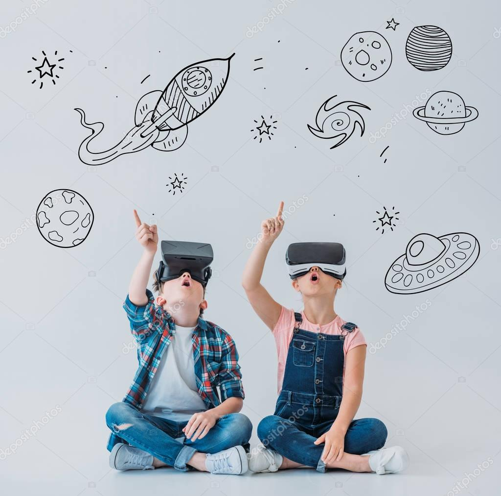 children using virtual reality headsets