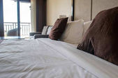 bed in hotel room