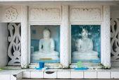 Buddha szobrok, üveg mögött