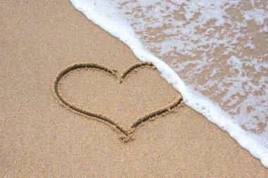 Heart shape sign erasing by sea wave on sandy beach stock vector