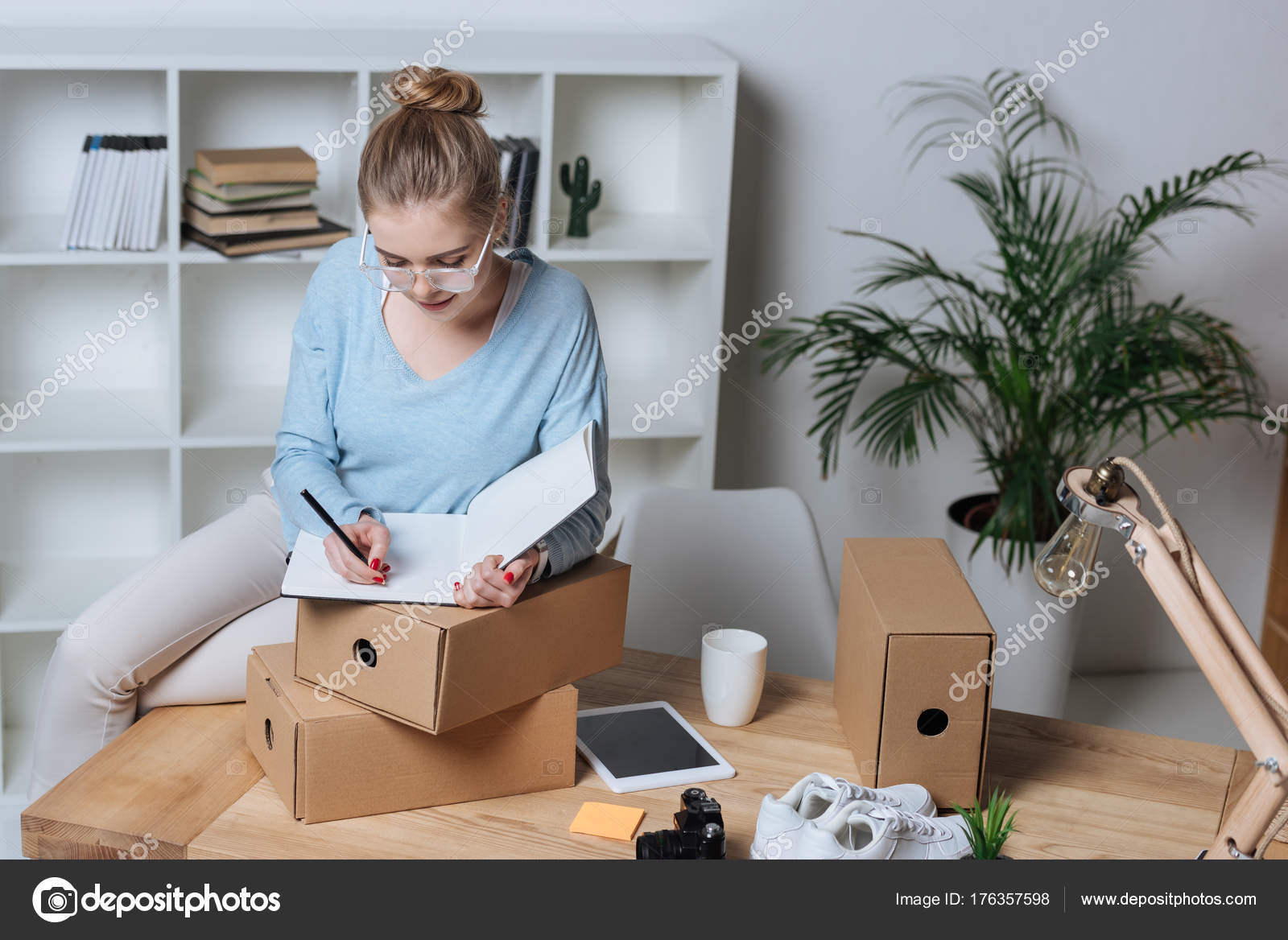 making a home office. Portrait Concentrated Entrepreneur Making Notes Notebook While Working Home Office \u2014 Stock Photo A