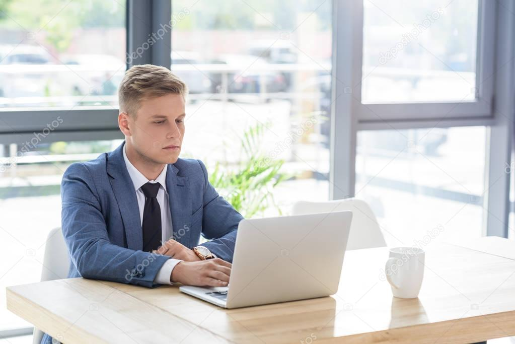 Young businessman looking at laptop screen in modern office