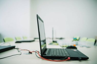 close-up shot of laptop on desk at stem education courses