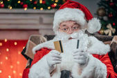 Fényképek Santa claus, hitelkártyák