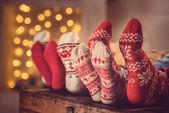 family in wool socks