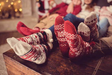 family in wool socks
