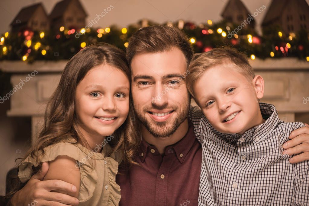 smiling family on christmas eve