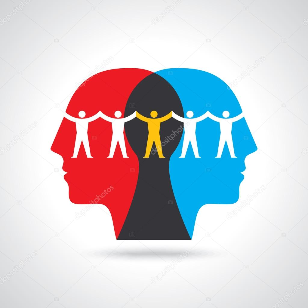 human head thinking Teamwork idea.