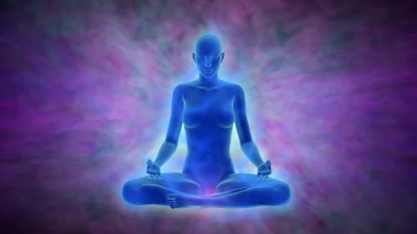 Meditace - žena s aura, čakry aktivace a osvícení mysli, animace s uhd / 4 k rozlišení