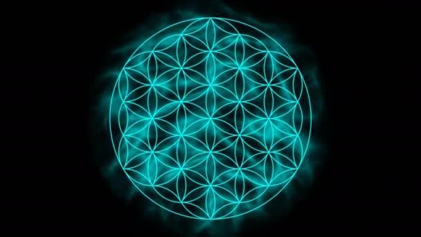 Květ života s aurou - symbol posvátné geometrie s uhd / 4 k rozlišení