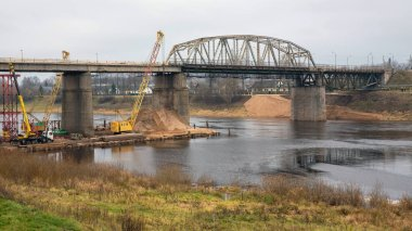 15/11/2019, Polotsk Belarus. The old bridge over the Western Dvina river is being dismantled. Reconstruction of the bridge.