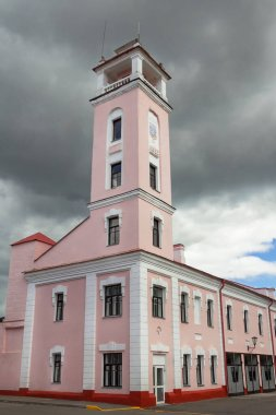 Polotsk Belarus, fire tower. View from the corner of the building