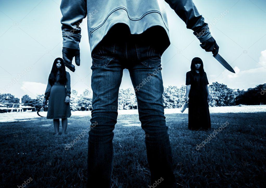 Killer vs Evil,Scary background for book cover — Stock Photo