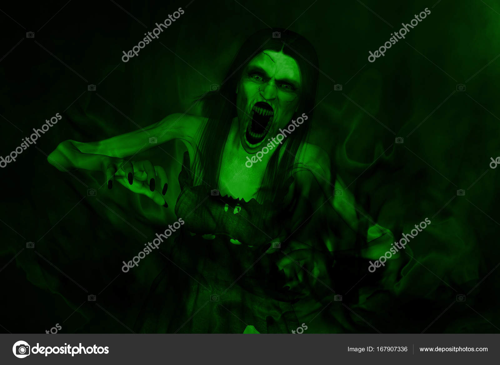 3d illustration of scary angry ghost woman screaming in hell