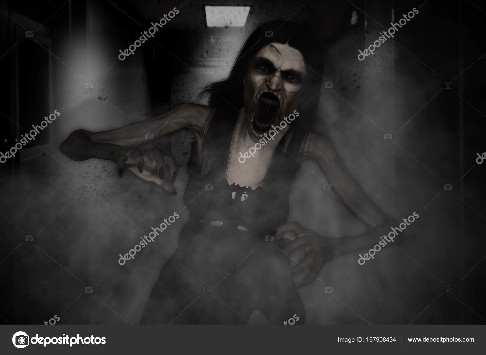 Photo: scary ghost in | 3d illustration of scary ghost woman