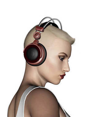 3d illustration of Sexy blonde short hair woman listening to music