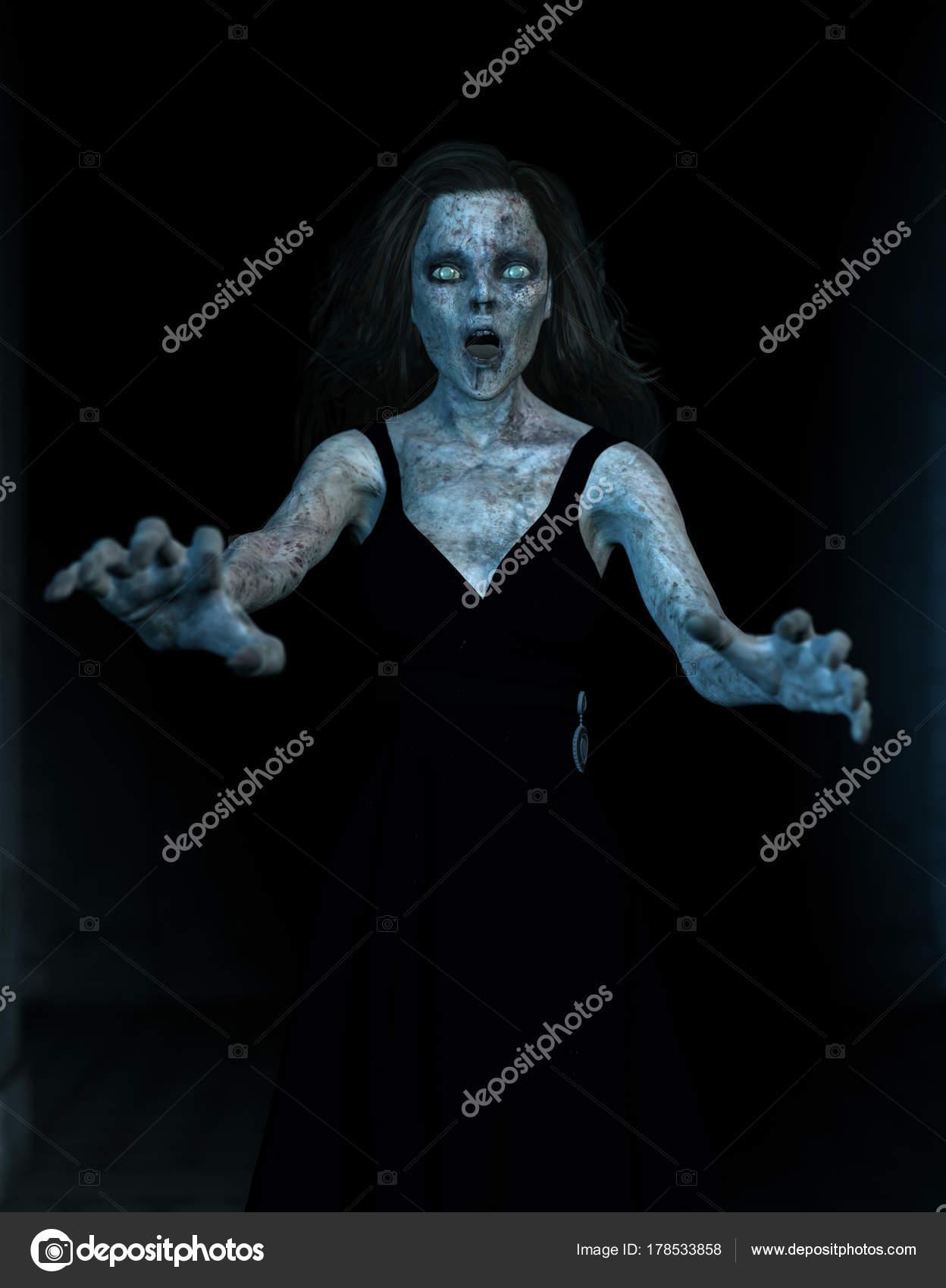 Ilustración 3D, mujer de miedo de fantasmas en el fondo oscuro ...